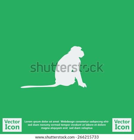 Flat style monkey icon - stock vector