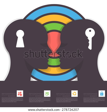 Flat Style Multicolor Graphic Human Head Business Concept, Abstract Key and Key Hole Symbol Vector Infographics  - stock vector