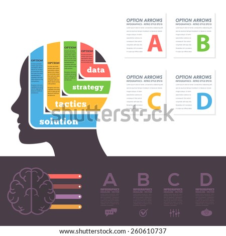 Flat Style Multicolor Graphics, Human Head Business Concept Vector Infographics  - stock vector