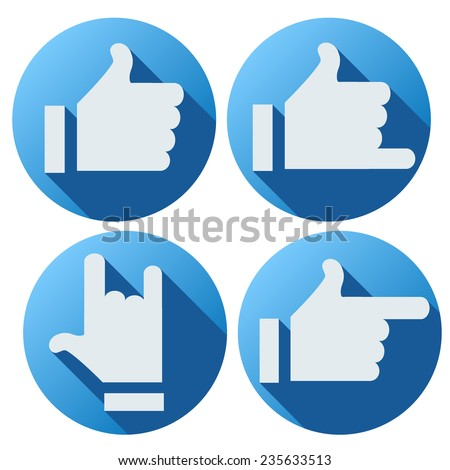Flat style of symbols Likes buttons to use the web or applications. Vector illustration - stock vector