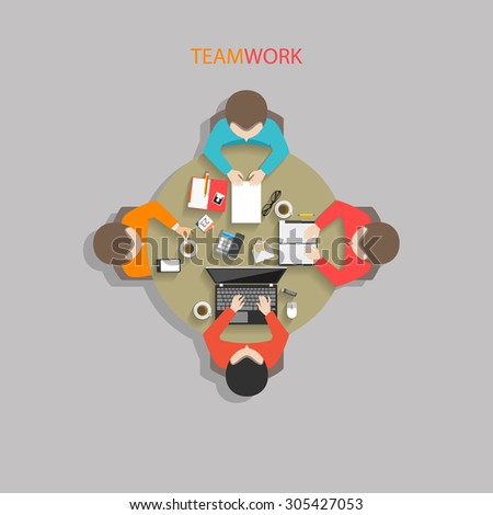 Flat style office workers business management meeting on the round table in top view vector illustration - stock vector