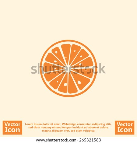 Flat style orange slice icon - stock vector