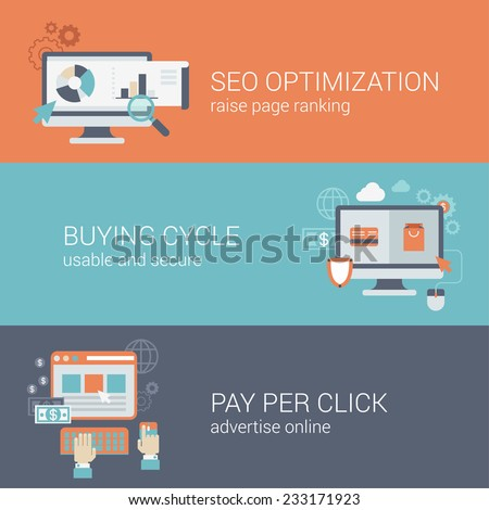 Flat style SEO website optimization buying cycle pay per click infographic concept. Computer with web site pages visits analytics online payment advertising block interface icon banners templates set. - stock vector