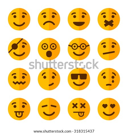 Flat Style Smile Emotion Icons Set. Vector - stock vector