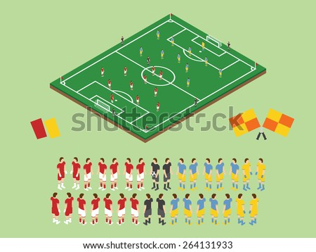 Flat Style Soccer Tactic Table. Vector Illustration.  Isometric View Field And Football Players  - stock vector