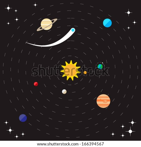 Flat style solar system illustration with planets, comet, stars and sun - stock vector