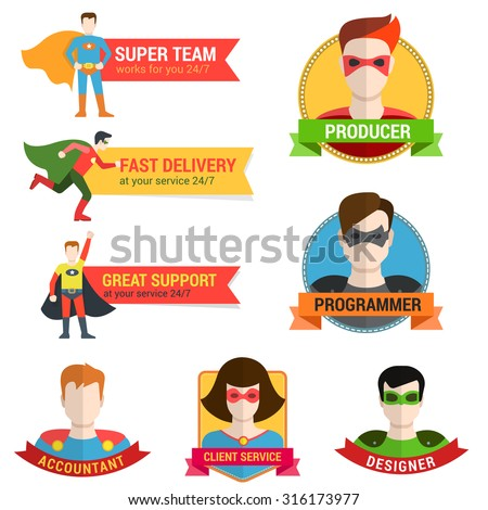 Flat style superhero character avatar on ribbon label creative design template. Man woman super hero profile full face view and place for text name. - stock vector
