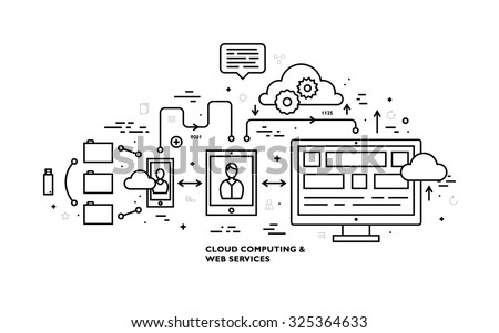 Flat Style, Thin Line Art Design. Set of application development, web site coding, information and mobile technologies vector icons and elements. Modern concept vectors collection. Black and white. - stock vector