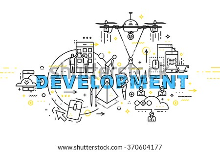 Flat Style, Thin Line Art Design. Set of application development, web site coding, information and mobile technologies vector icons and elements. Modern concept vectors collection. Development Concept - stock vector