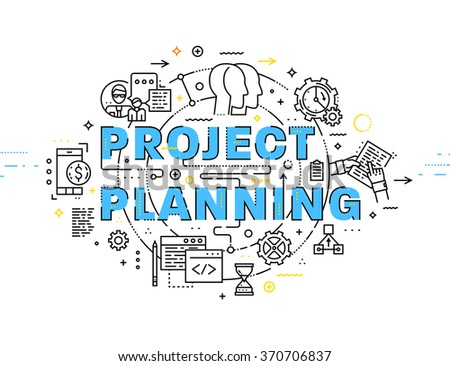 Flat Style, Thin Line Art Design. Set of application development, web site coding, information and mobile technologies vector icons and elements. Project Planning Concept vectors collection. - stock vector