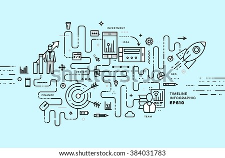 Flat Style, Thin Line Art Design. Set of application development, web site coding, information and mobile technologies vector icons and elements for landing page. Modern concept vectors collection. - stock vector