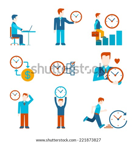 Flat style time is money business people figures infographics user interface icons set work rest grow time-management isolated vector illustration collection - stock vector