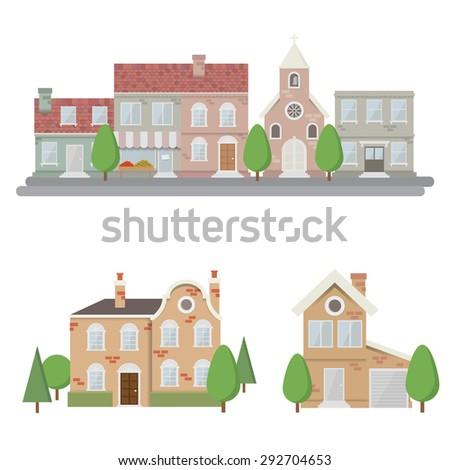 Flat style Urban Landscape - stock vector