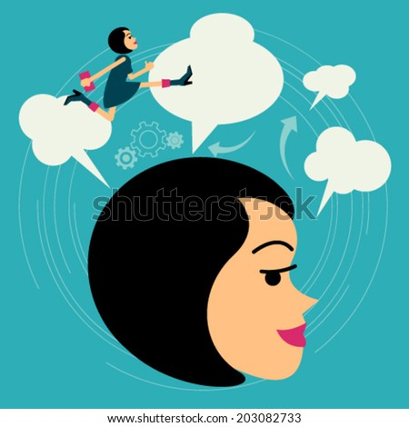 Flat style vector business woman growth concept. Beyond Imagination New business banner. Graphic Design Editable For Your Design.  - stock vector