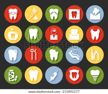 Flat style vector dental icons set on colorful web buttons showing a dentist  examination  caries  implant  toothbrush  antibiotics  crown  filling  x-ray  braces and equipment - stock vector