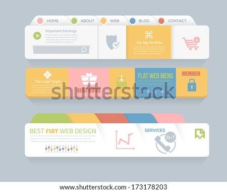 Flat Style Vector Header Horizontal Web Menu Design - stock vector