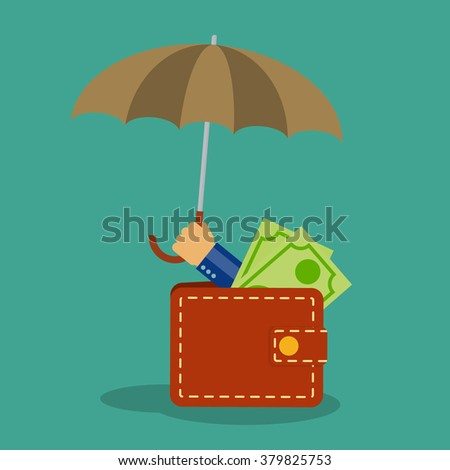 flat style vector icon money protection, money saving, finance protection, profit safety - stock vector
