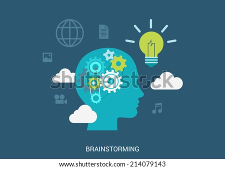 Flat style vector illustration brainstorming process concept. Human head silhouette with gear brain lamp light bulb idea in clouds. Big flat conceptual collection. - stock vector