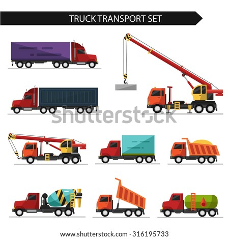 Flat style vector illustration of truck and delivery transport isolated on white background. Including concrete mixer, truck crane, refrigerator, gasoline tanker. - stock vector