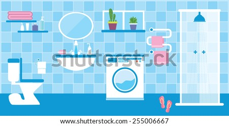 Flat style vector illustration. Toilet and bathroom interior with furniture in blue colors - stock vector