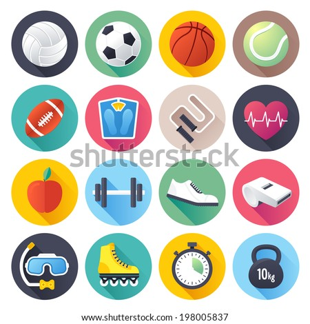 Flat style vector illustrations with long shadows; sports themed icons set. - stock vector