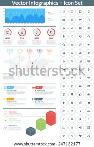Flat style vector infographics and design elements with icon set  for brochures, flyers and websites - stock vector