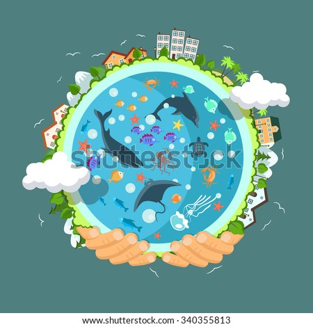 Flat style vector isolated illustration.. Earth day concept. Human hands holding floating globe in space. Save our planet. Solar, renewable energy - stock vector