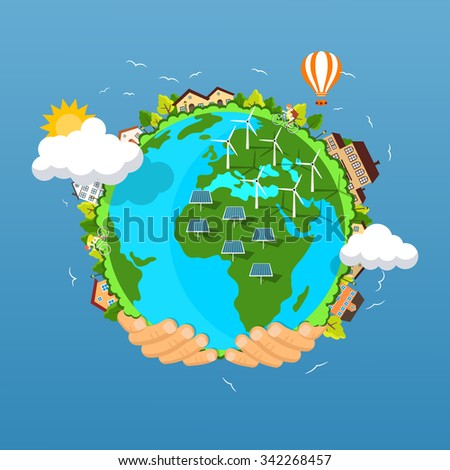 Flat style vector isolated illustration.. Earth day concept. Human hands holding floating globe in space. Africa with solar energy, wind power stations. Clean ecology of our planet with no pollution. - stock vector