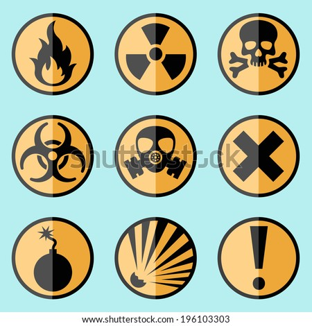Flat style warning signs labels icons on a background. - stock vector