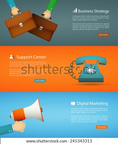 flat style web banner set. digital marketing, support center, business strategy eps10 vector - stock vector