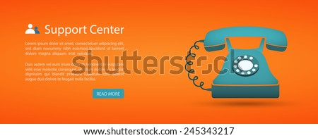 flat style web banner, support center eps10 - stock vector