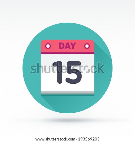 Flat style with long shadows, calendar vector icon illustration. - stock vector