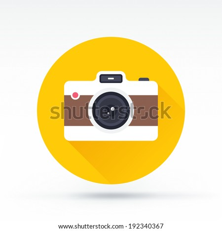 Flat style with long shadows, camera vector icon illustration. - stock vector