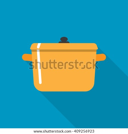 Flat style with long shadows, cooking pot vector icon illustration. - stock vector