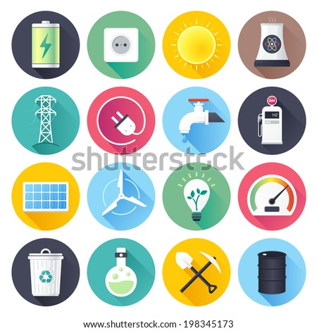 Flat style with long shadows, energy resources illustrations icons set. - stock vector