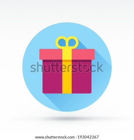 Flat style with long shadows, gift vector icon illustration. - stock vector