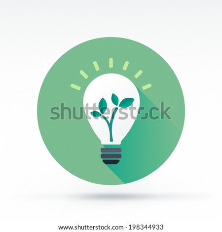 Flat style with long shadows, green energy vector icon illustration. - stock vector