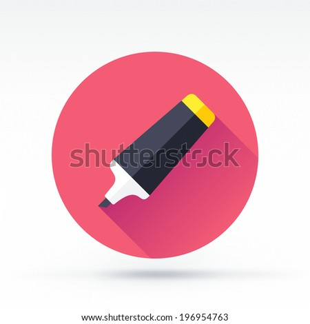 Flat style with long shadows, marker pen vector icon illustration. - stock vector