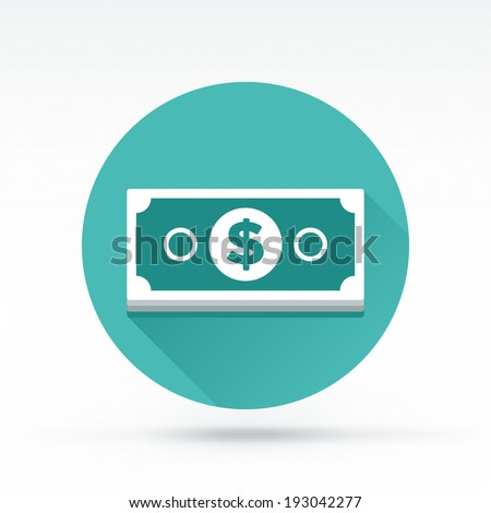 Flat style with long shadows, money bill vector icon illustration. - stock vector