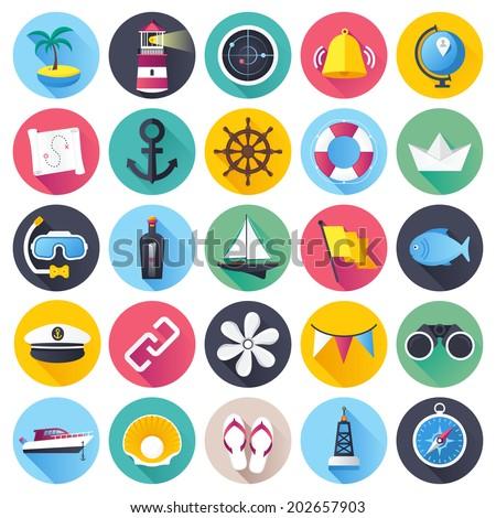 Flat style with long shadows, nautical an marine themed vector illustrations. Circle icon set. - stock vector