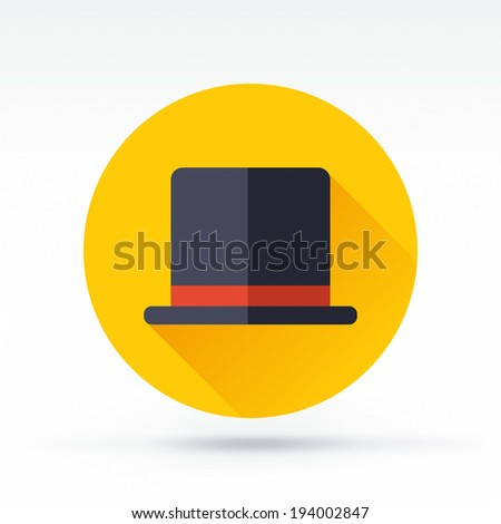 Flat style with long shadows, retro hat vector icon illustration. - stock vector