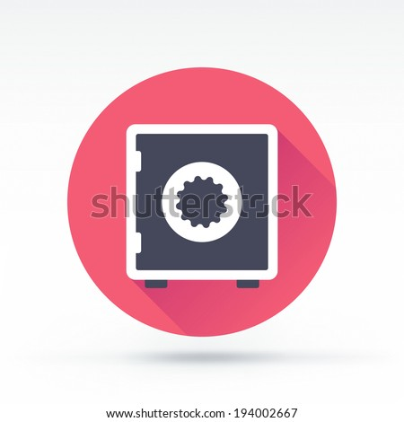Flat style with long shadows, safe vector icon illustration. - stock vector