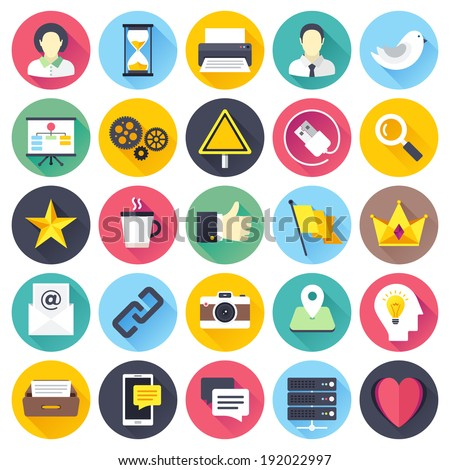 Flat style with long shadows, social media themed vector icon illustrations set. - stock vector