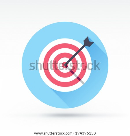Flat style with long shadows, target & arrow vector icon illustration. - stock vector