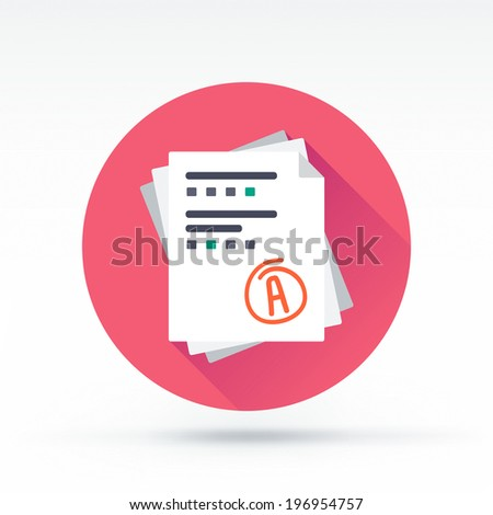 Flat style with long shadows, test result vector icon illustration. - stock vector