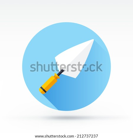 Flat style with long shadows, trowel vector icon illustration. - stock vector