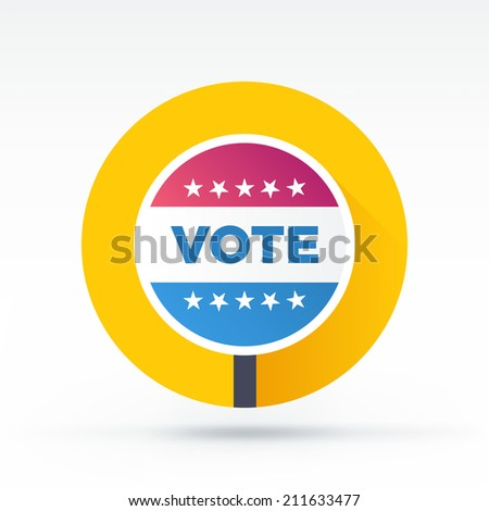 Flat style with long shadows, vote banner vector icon illustration. - stock vector