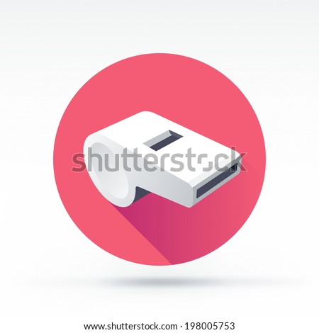 Flat style with long shadows, whistle vector icon illustration. - stock vector