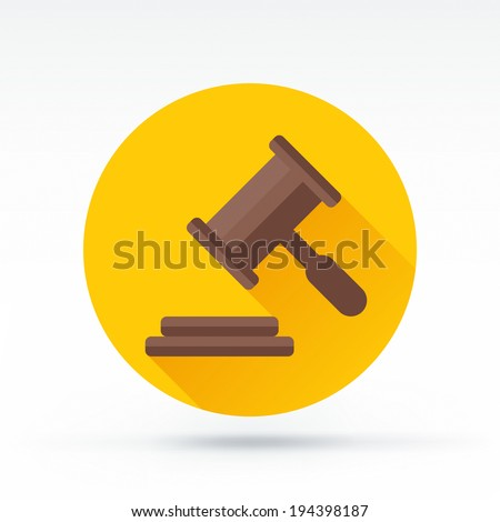 Flat style with long shadows, wooden gavel vector icon illustration. - stock vector