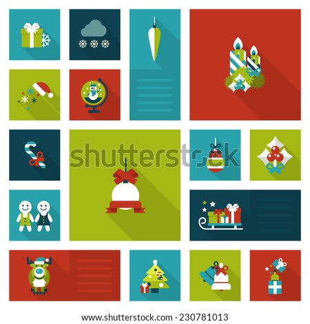 Flat style Xmas, New Year holiday decorations templates: gift box, candles, sledges, elk, gingerbread cookie man, Santa hat. Christmas objects, items and labels icon set. Web icons collection. - stock vector